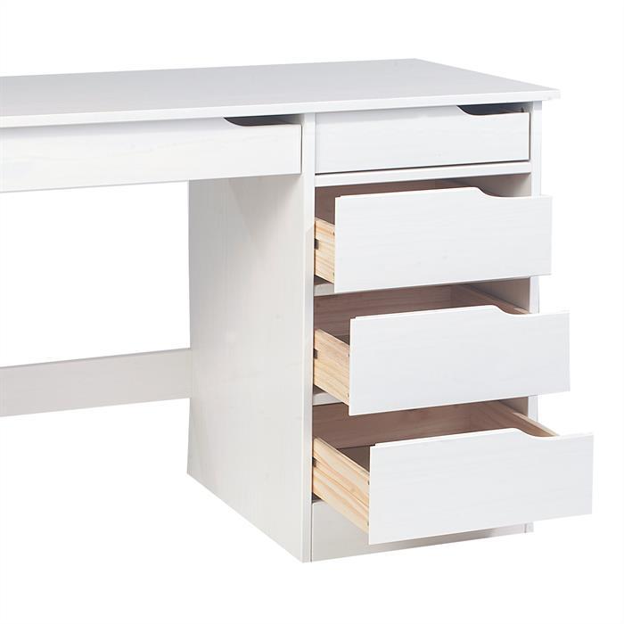 Schreibtisch in Kiefer massiv weiß