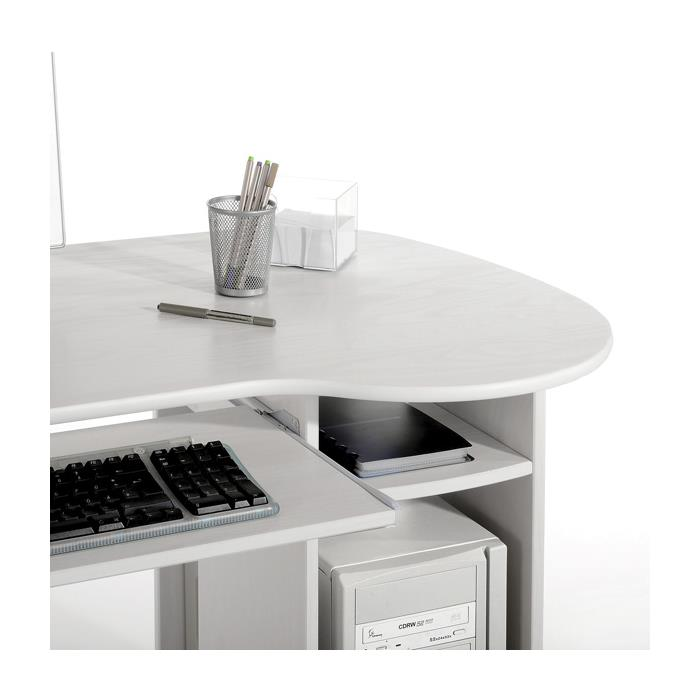 PC-Schreibtisch, Kiefer massiv in weiß