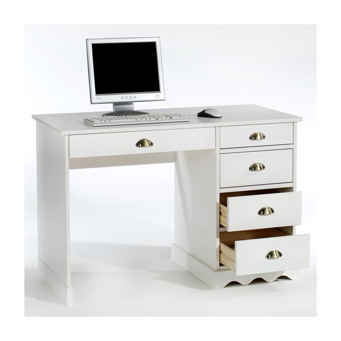 Schreibtisch, Kiefer massiv in weiß