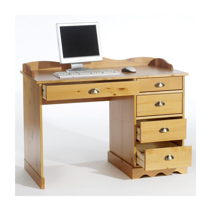 Schreibtisch mit Aufsatz in honigfarben