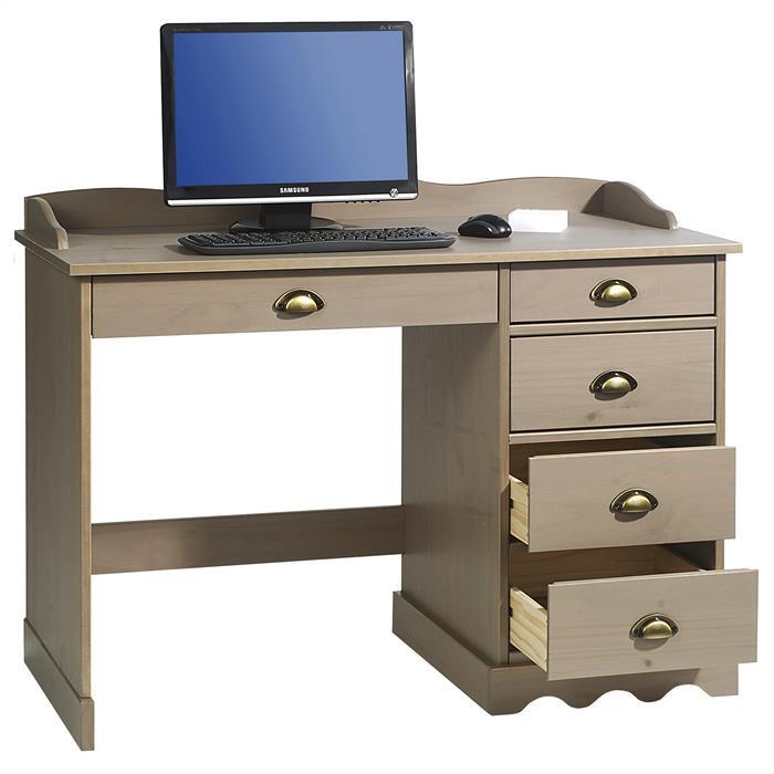 Schreibtisch COLETTE mit Aufsatz in taupe