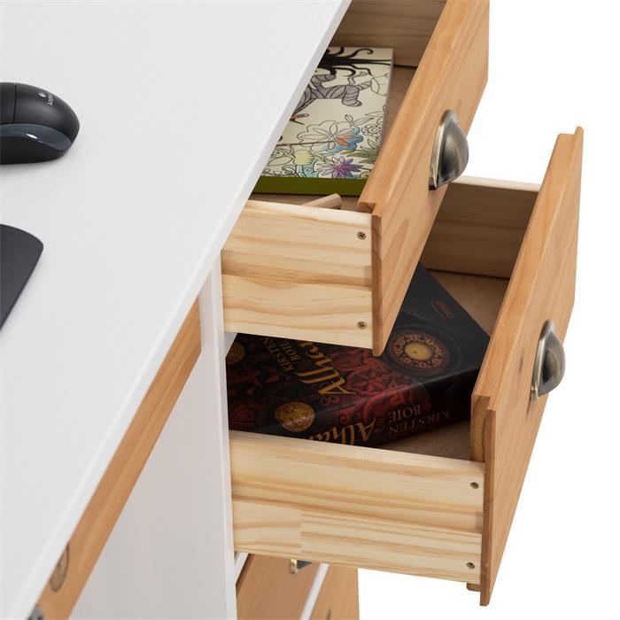 Schreibtisch mit Aufsatz in weiß/braun