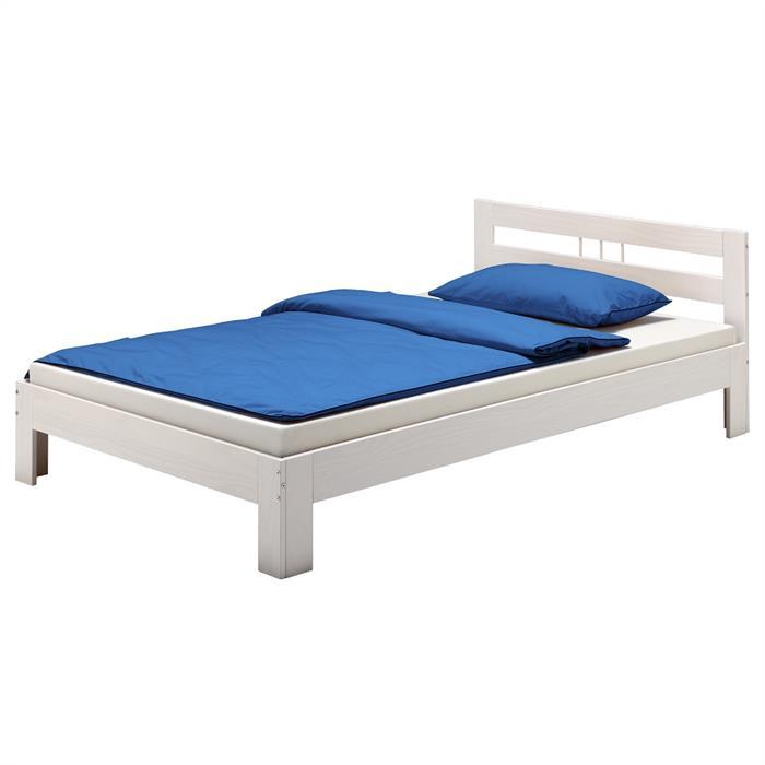 Doppelbett MALTE, Kiefer weiß 140 x 200 cm