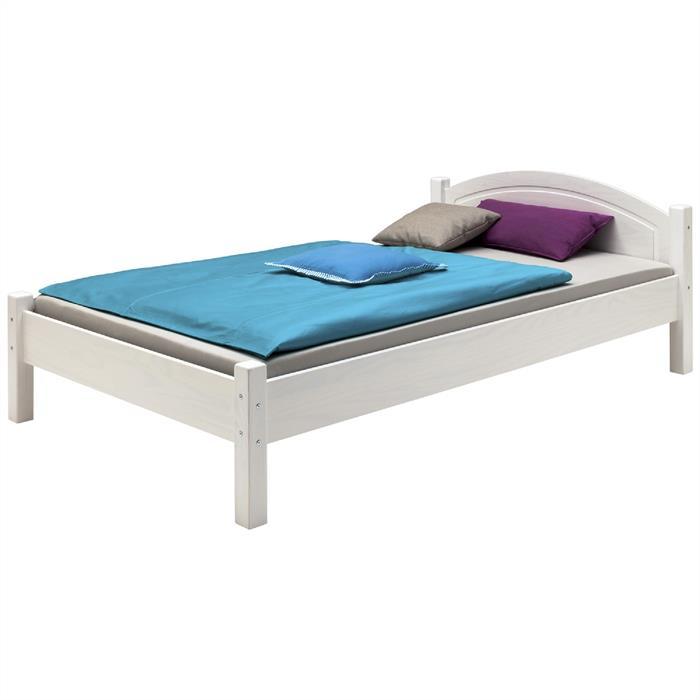 Holzbett in 90 x 200 cm, weiß lackiert
