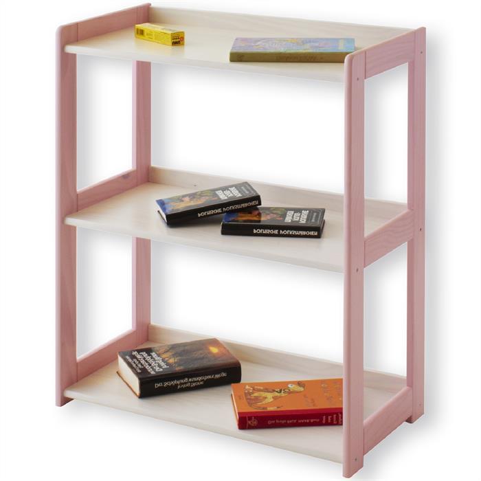 Holzregal mit 3 Böden, weiß/rosa lackiert