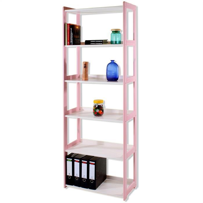 Holzregal mit 6 Böden, weiß/rosa lackiert