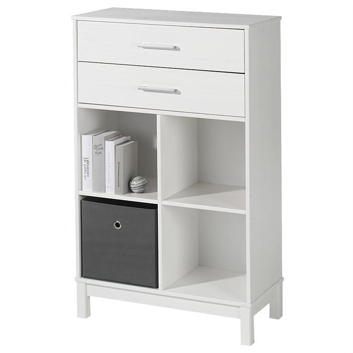 Standregal HUGO mit Schubladen weiß lackiert
