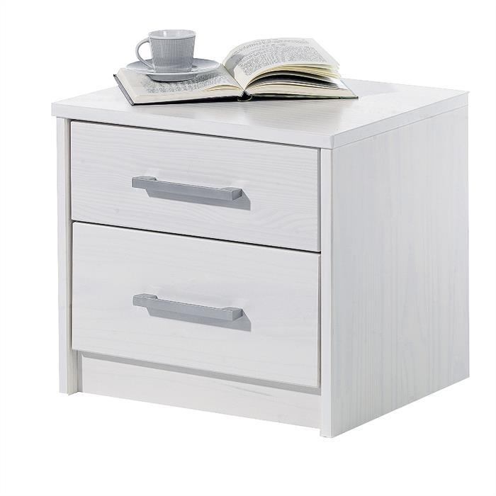 Nachtkonsole, 2 Schubladen, weiß lackiert