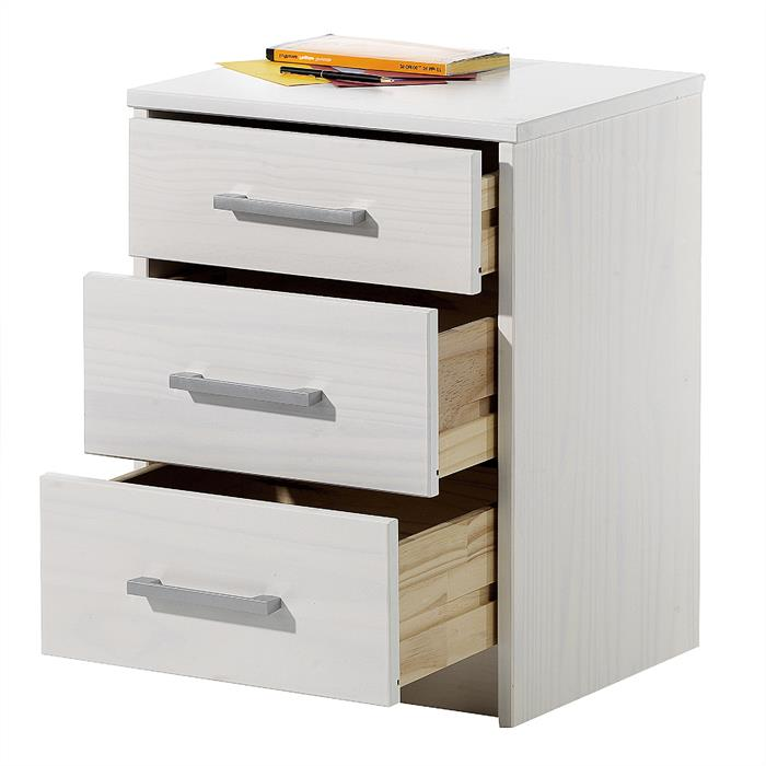Nachtkommode mit 3 Schubladen, weiß lackiert