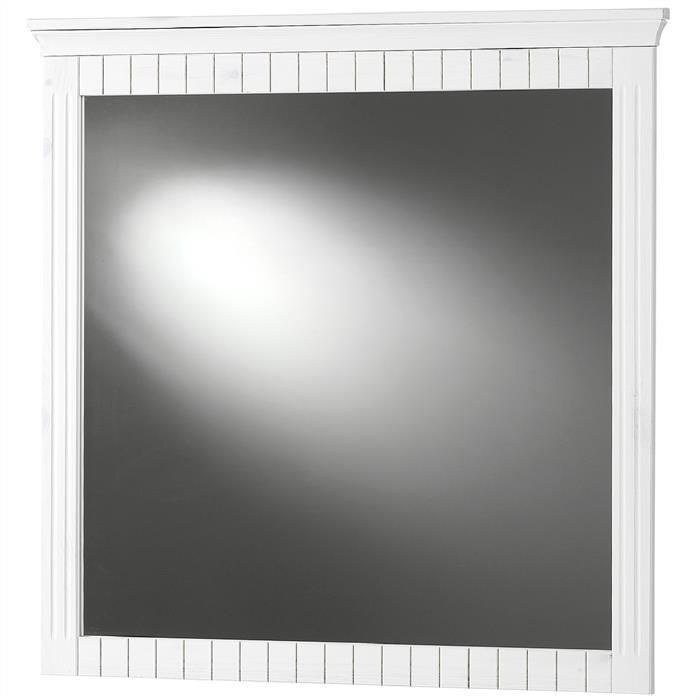 Spiegel mit weißem Rahmen aus Kiefernholz