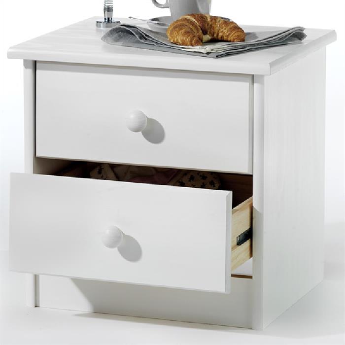 Nachtkommode in weiß mit 2 Schubladen