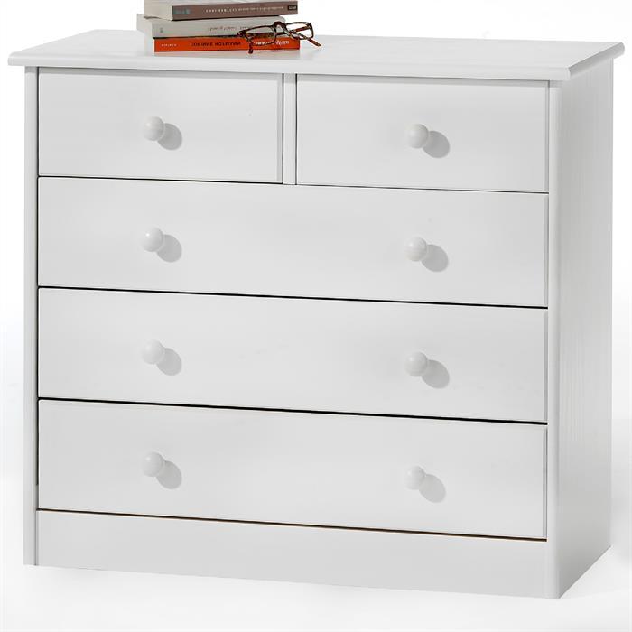 Kommode mit 5 Schubladen in weiß lackiert