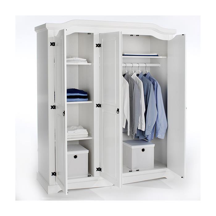 Kleiderschrank 3-türig aus Kiefer in weiß