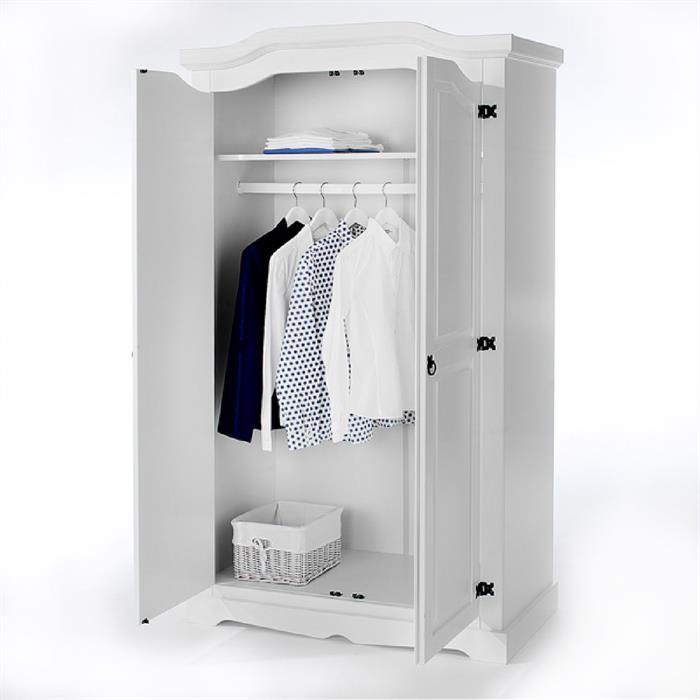 Kleiderschrank 2-türig aus Kiefer in weiß