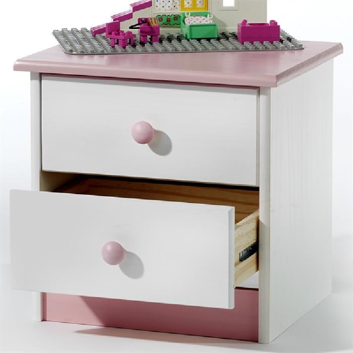 Nachtkommode, weiß/rosa, 2 Schubladen