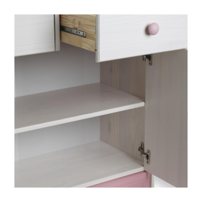 Kommode in weiß/rosa, 2 Türen, 2 Schubladen