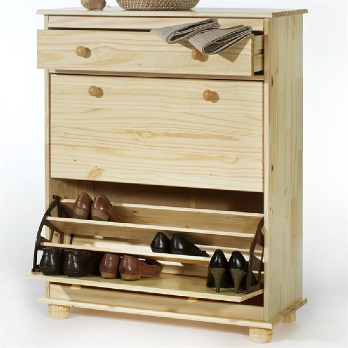 schuhschrank mit schublade kiefer natur caro m bel. Black Bedroom Furniture Sets. Home Design Ideas