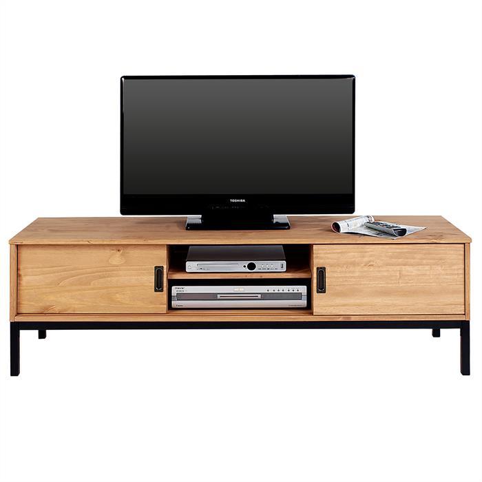 TV Lowboard in hellbraun mit 2 Schiebetüren