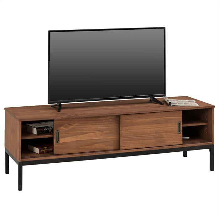 TV Lowboard in dunkelbraun mit 2 Schiebetüren