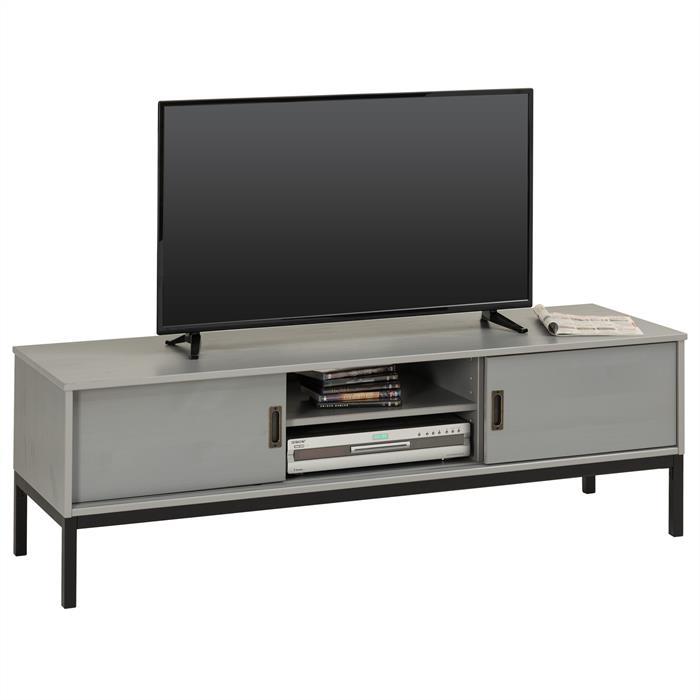 TV Lowboard in grau mit 2 Schiebetüren