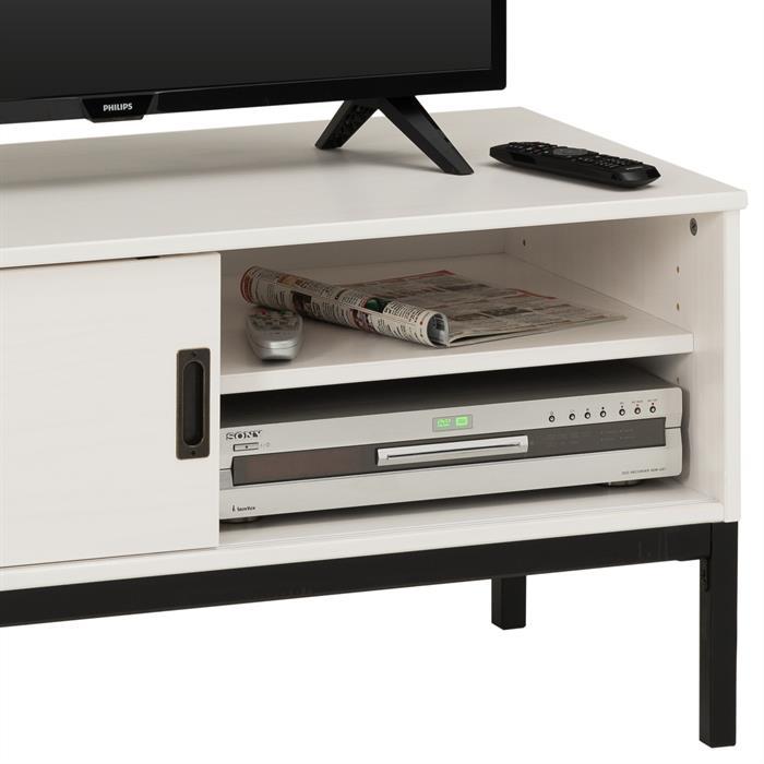 TV Lowboard mit 1 Schiebetür weiß lackiert