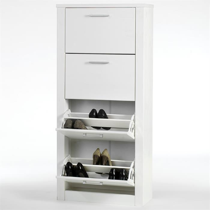 Schuhkipper FIONA, 4 Kippfächer in weiß