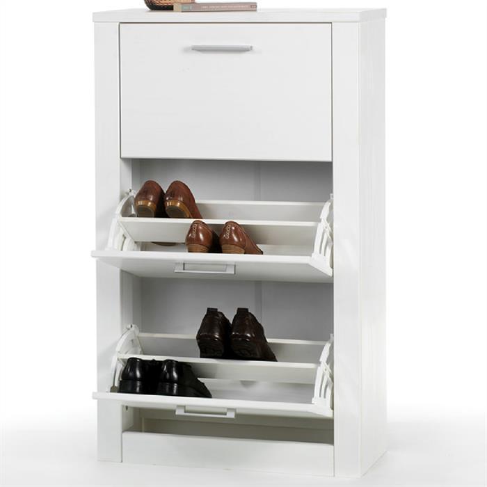 Schuhkipper FIONA, 3 Kippfächer in weiß