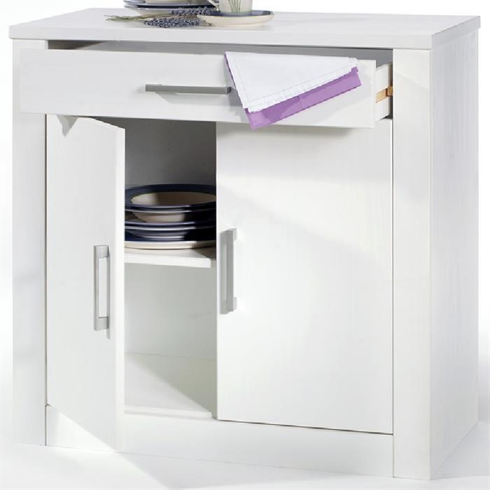 Kommode, weiß, 2 Türen und 1 Schublade