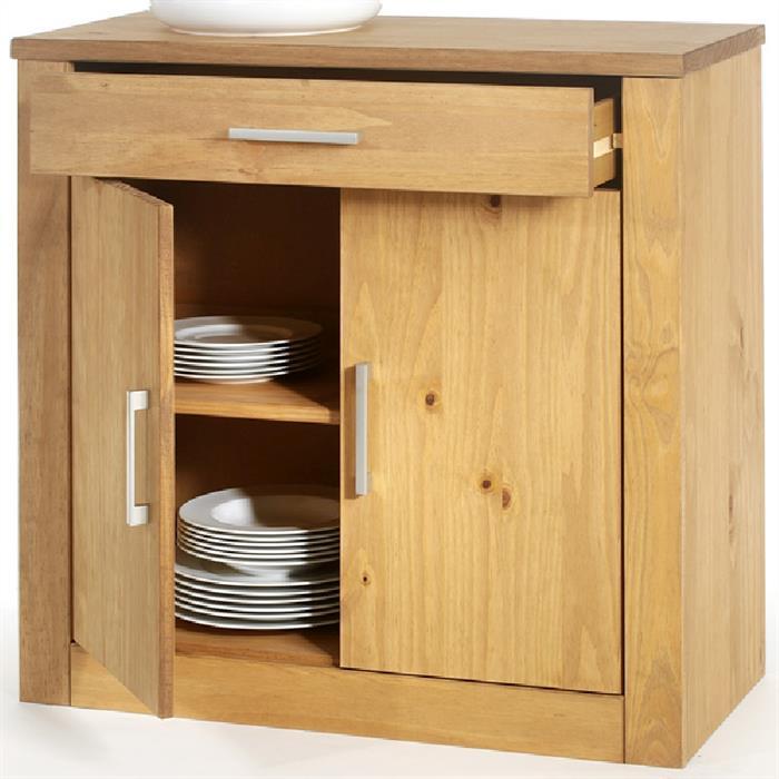 Kommode, gebeizt, 2 Türen und 1 Schublade