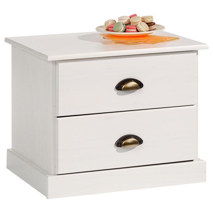 Nachtkommode mit 2 Schubladen in weiß
