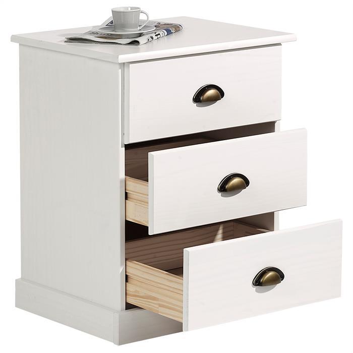Nachtkommode mit 3 Schubladen in weiß