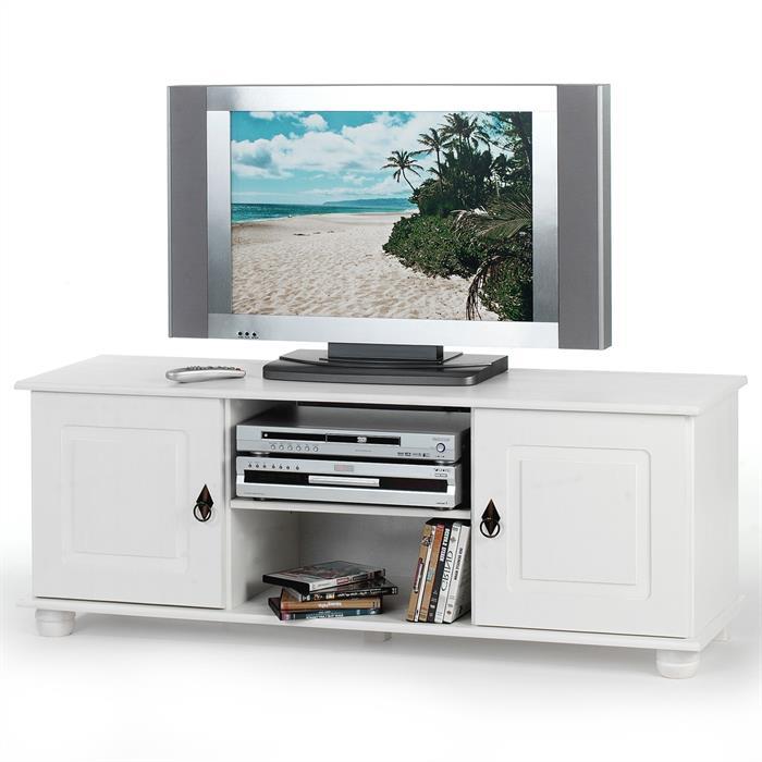 TV-Kommode, Kiefer massiv in weiß lackiert