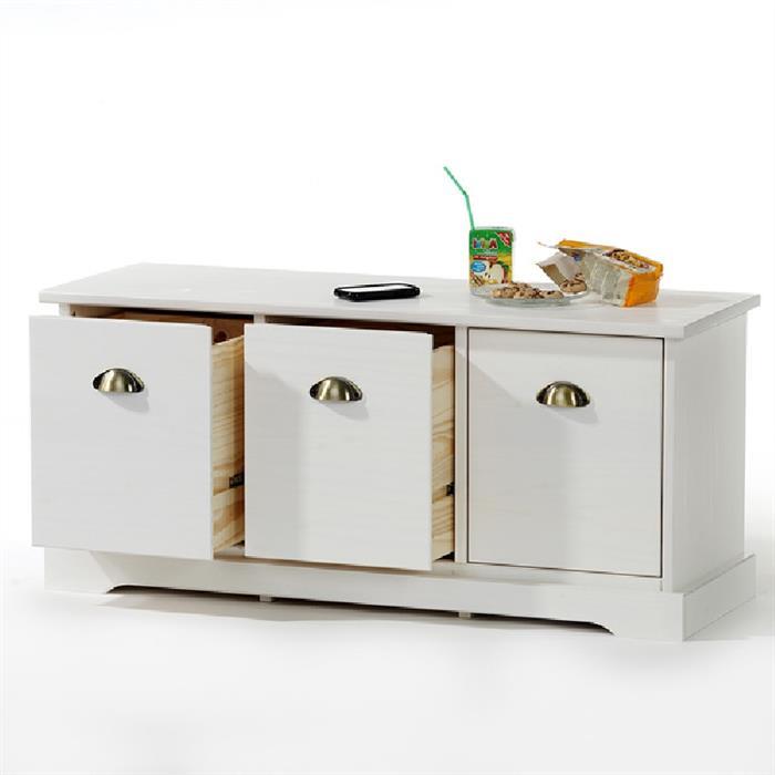 Sitzkommode mit 3 Schubladen in weiß