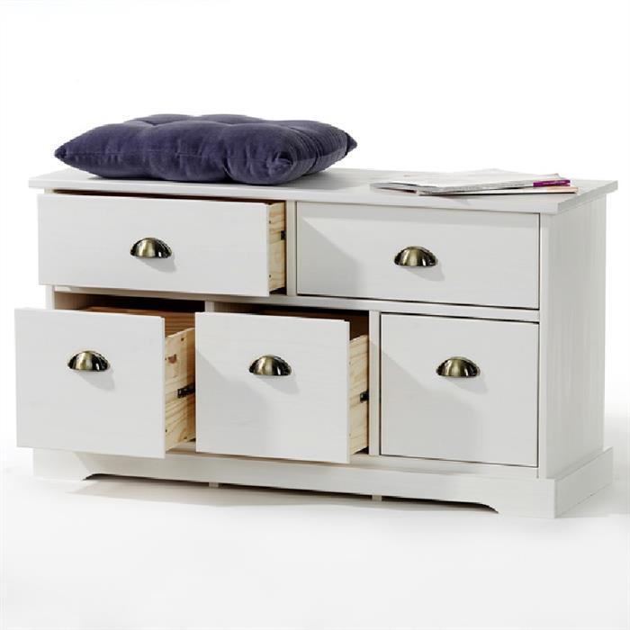 Sitzkommode mit 5 Schubladen in weiß