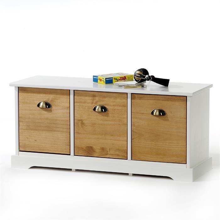 Sitzkommode mit 3 Schubladen in weiß/braun