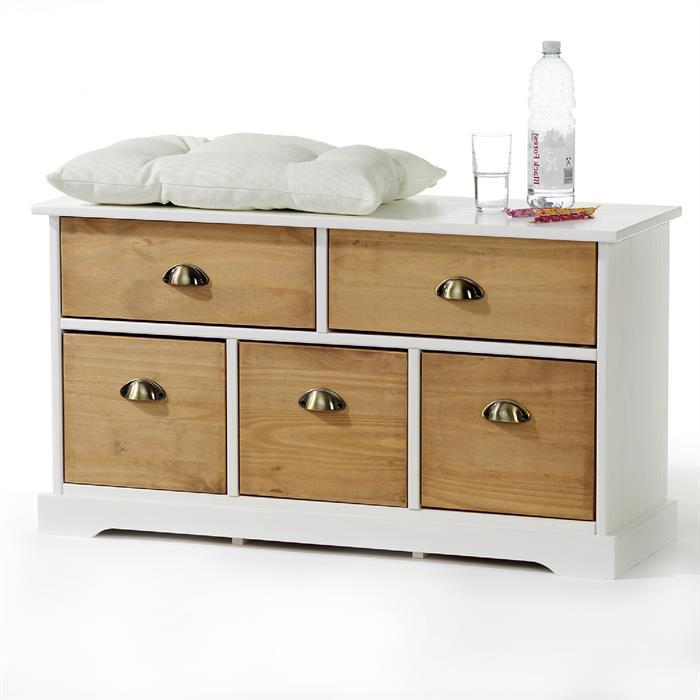 Sitzkommode mit 5 Schubladen in weiß/braun