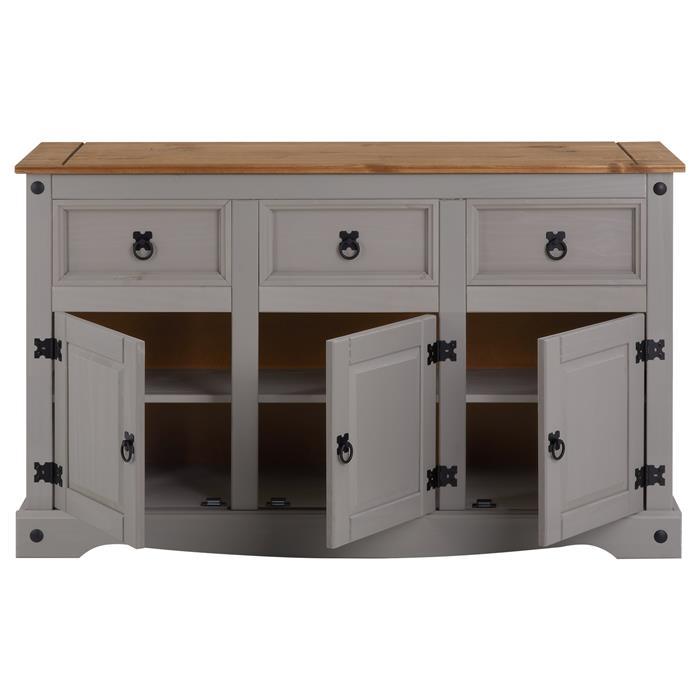 Buffet RAMON Kiefer massiv mit 3 Schubladen und 3 Türen