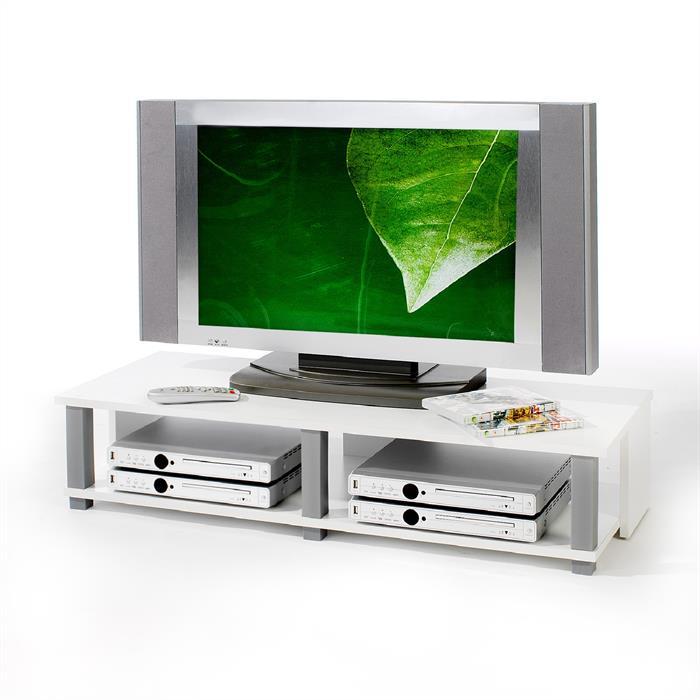 TV-Lowboard in weiß foliert, 2 Ablagen