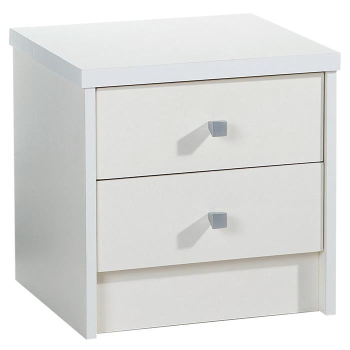 Nachttisch ONUR mit 2 Schubladen in weiß matt