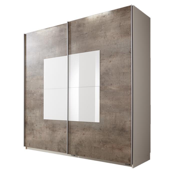 Schwebetürenschrank 180 cm in weiß/beton