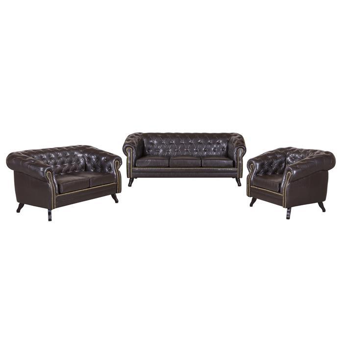 3-Sitzer Chesterfield Sofa ENIO, antikbraun