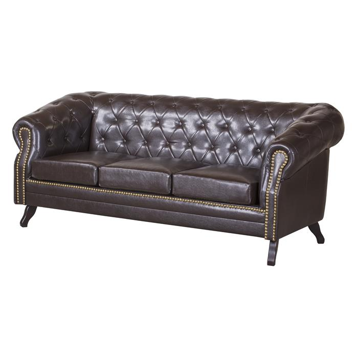 3-Sitzer Chesterfield Sofa ENIO, antikbraun