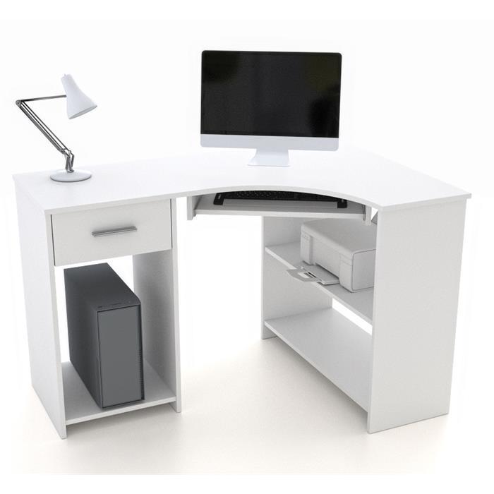 Eckschreibtisch SILVIA in weiß mit Tastaturauszug