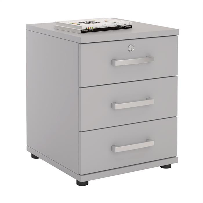 Bürocontainer TORONTO, 3 Schubladen in lichtgrau