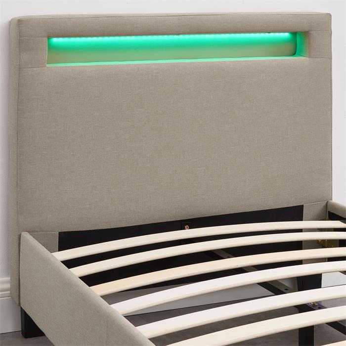 Polsterbett HIMALAYA mit LED 90 x 200 cm, beige