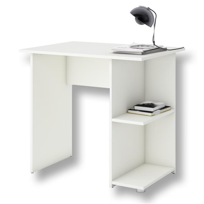 Schreibtisch KUBA in weiß mit 2 Ablageflächen