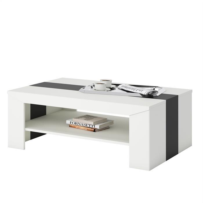 Couchtisch MARLEN in weiß/schwarz, 110 x 70 cm