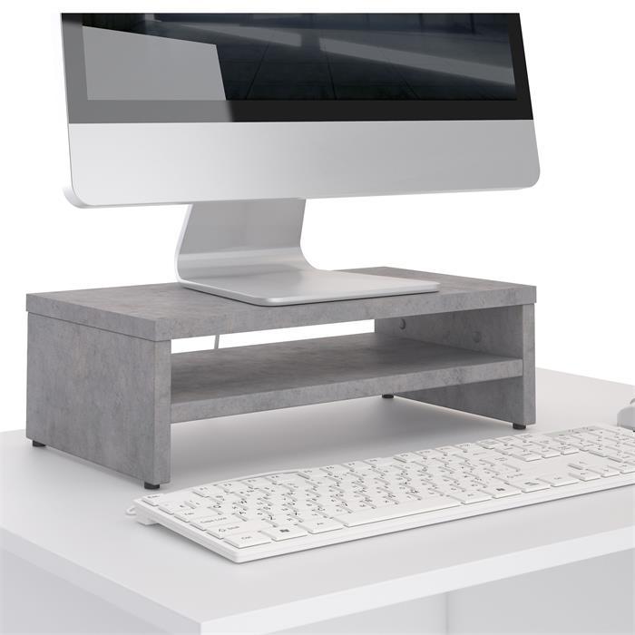 Monitorständer SUBIDA in Betonoptik mit Ablagefach