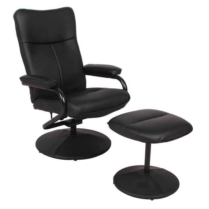 Relaxsessel ARIZONA drehbar mit Hocker in schwarz