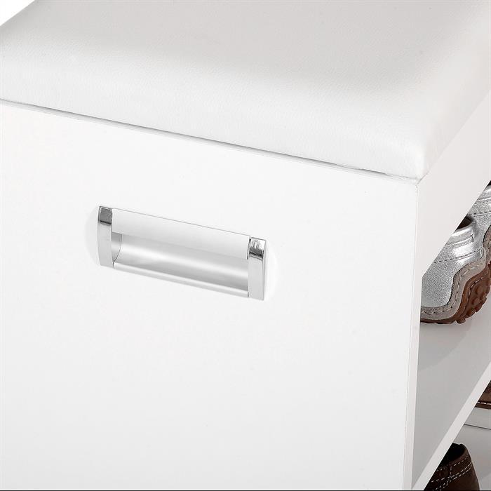 Schuhbank ZAPATO in weiß 60 cm breit mit Sitzkissen